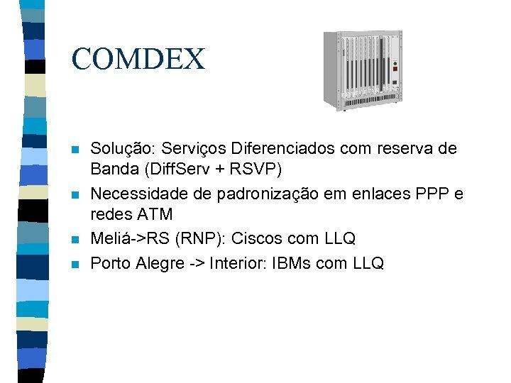 COMDEX n n Solução: Serviços Diferenciados com reserva de Banda (Diff. Serv + RSVP)