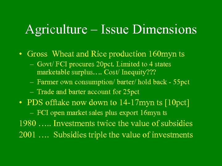 Agriculture – Issue Dimensions • Gross Wheat and Rice production 160 myn ts –