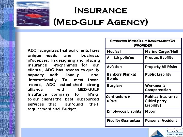 Insurance (Med-Gulf Agency) Services Med-Gulf Insurance Co Provides ADC recognizes that our clients have
