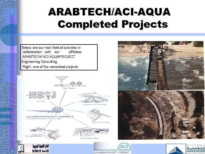 ARABTECH/ACI-AQUA Completed Projects Below: are our main field of activities in collaboration with our