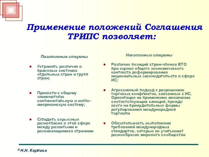 Применение положений Соглашения ТРИПС позволяет: Негативные стороны Позитивные стороны l l Привести к общему
