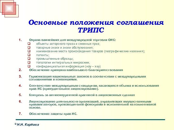 Основные положения соглашения ТРИПС 1. 2. Охрана важнейших для международной торговли ОИС: q объекты