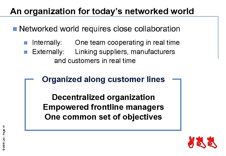 An organization for today's networked world n Networked world requires close collaboration Internally: One