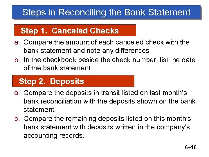 Steps in Reconciling the Bank Statement Step 1. Canceled Checks a. Compare the amount