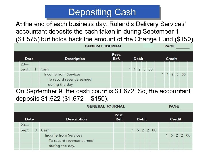 Depositing Cash At the end of each business day, Roland's Delivery Services' accountant deposits