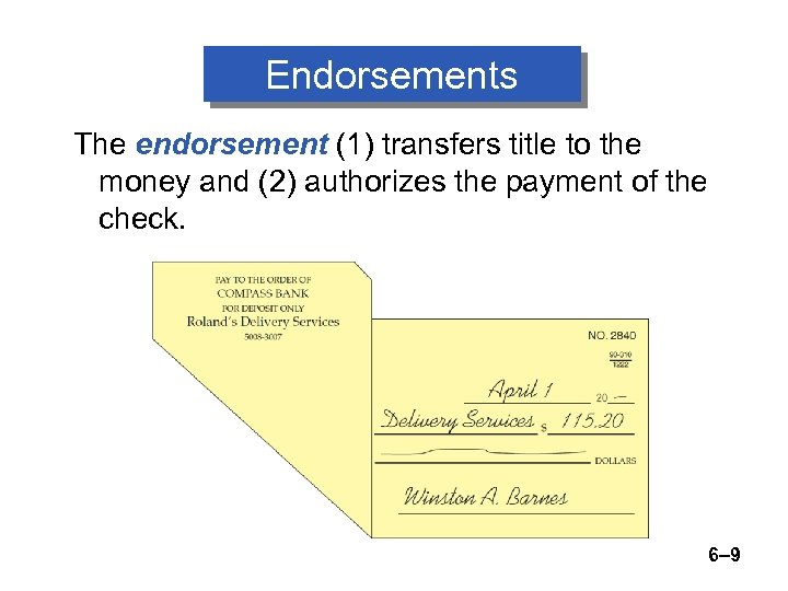 Endorsements The endorsement (1) transfers title to the money and (2) authorizes the payment