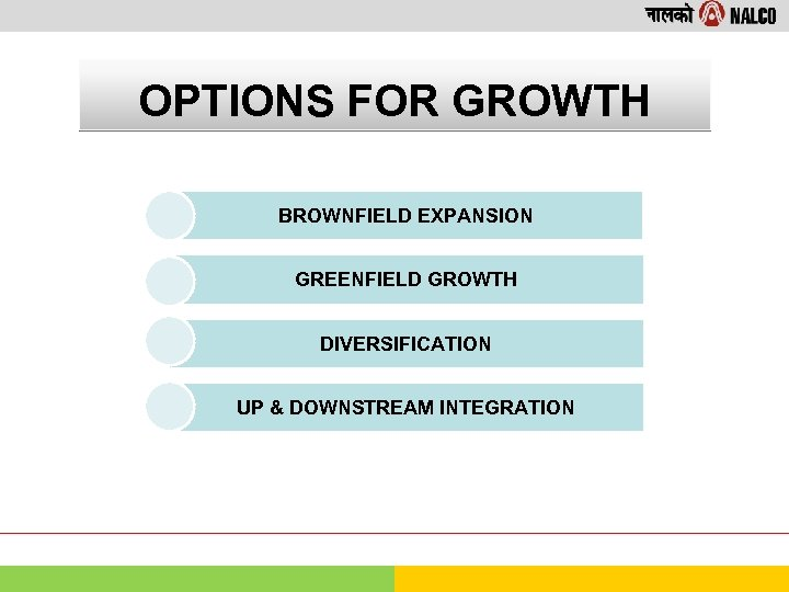 OPTIONS FOR GROWTH BROWNFIELD EXPANSION GREENFIELD GROWTH DIVERSIFICATION UP & DOWNSTREAM INTEGRATION