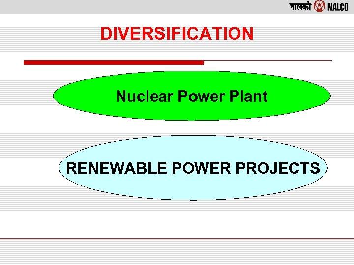 DIVERSIFICATION Nuclear Power Plant RENEWABLE POWER PROJECTS