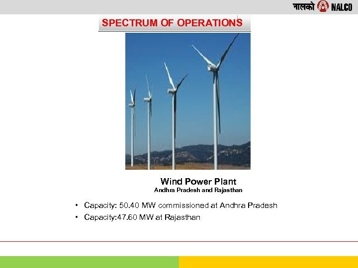 SPECTRUM OF OPERATIONS Wind Power Plant Andhra Pradesh and Rajasthan • Capacity: 50. 40