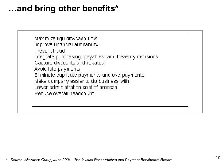 …and bring other benefits* * Source: Aberdeen Group, June 2004 - The Invoice Reconciliation
