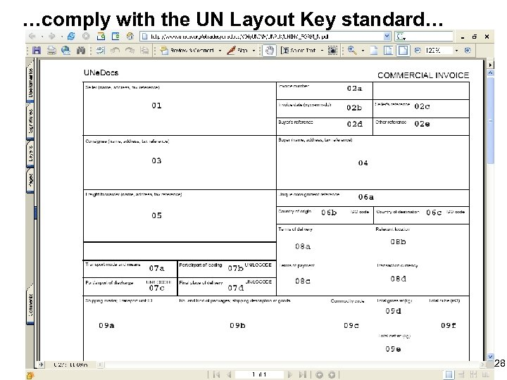 …comply with the UN Layout Key standard… 28