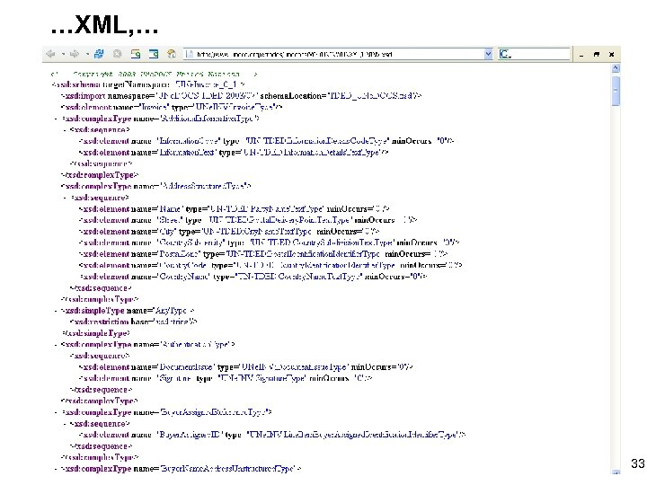 …XML, … 33