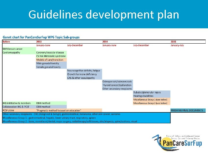 Guidelines development plan