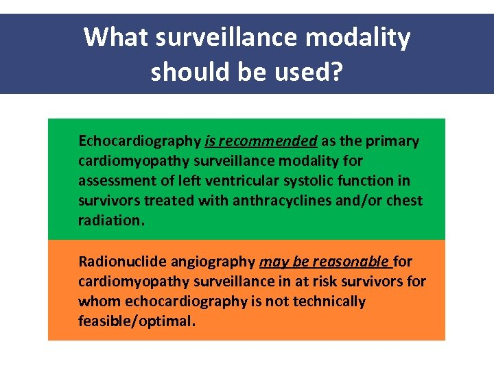 What surveillance modality should be used? Echocardiography is recommended as the primary cardiomyopathy surveillance