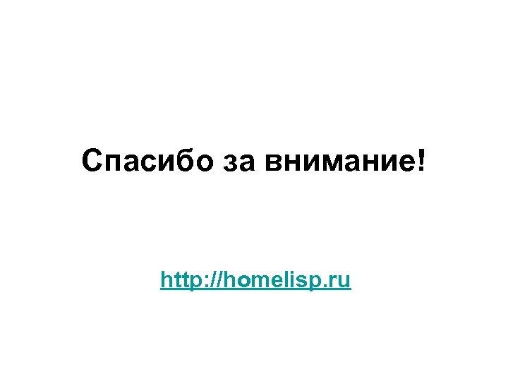 Спасибо за внимание! http: //homelisp. ru