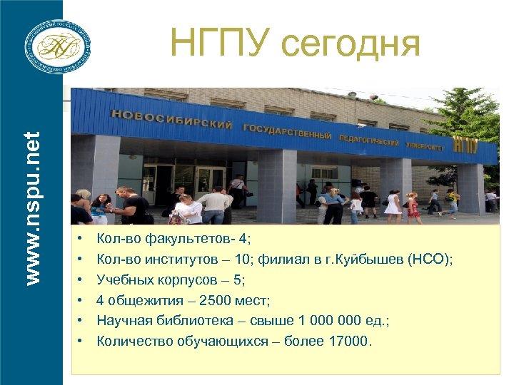 www. nspu. net НГПУ сегодня • • • Кол-во факультетов- 4; Кол-во институтов –