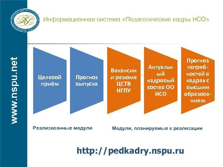 www. nspu. net Информационная система «Педагогические кадры НСО» Целевой приём Прогноз выпуска Реализованные модули