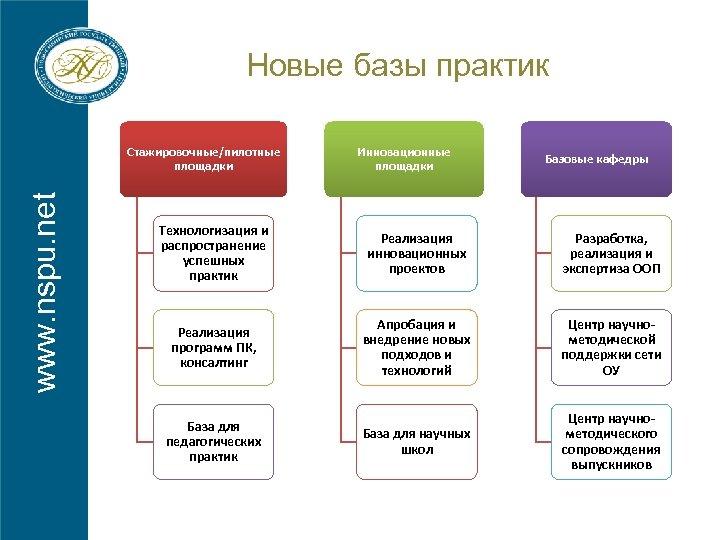 Новые базы практик www. nspu. net Стажировочные/пилотные площадки Инновационные площадки Базовые кафедры Технологизация и