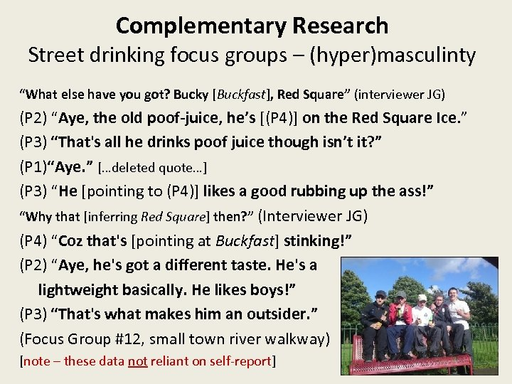 """Complementary Research Street drinking focus groups – (hyper)masculinty """"What else have you got? Bucky"""