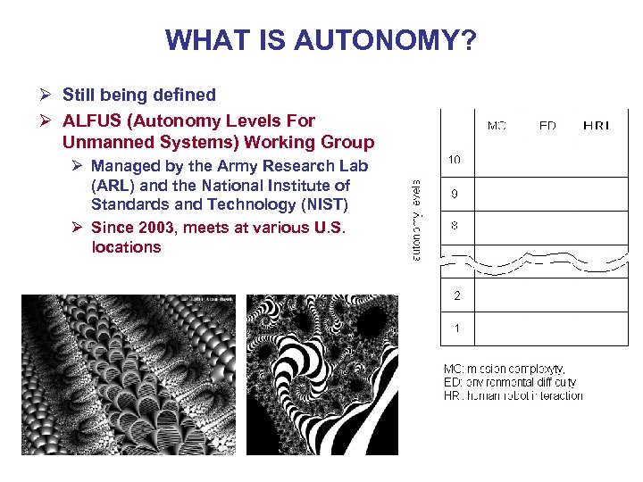 WHAT IS AUTONOMY? Ø Still being defined Ø ALFUS (Autonomy Levels For Unmanned Systems)