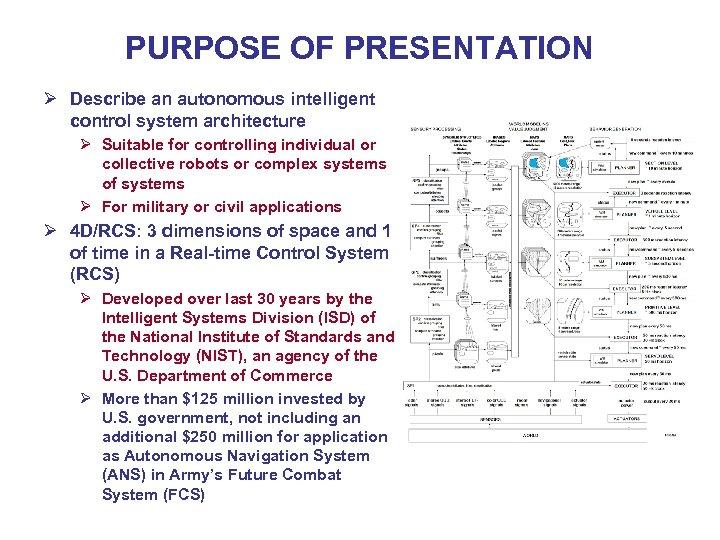 PURPOSE OF PRESENTATION Ø Describe an autonomous intelligent control system architecture Ø Suitable for