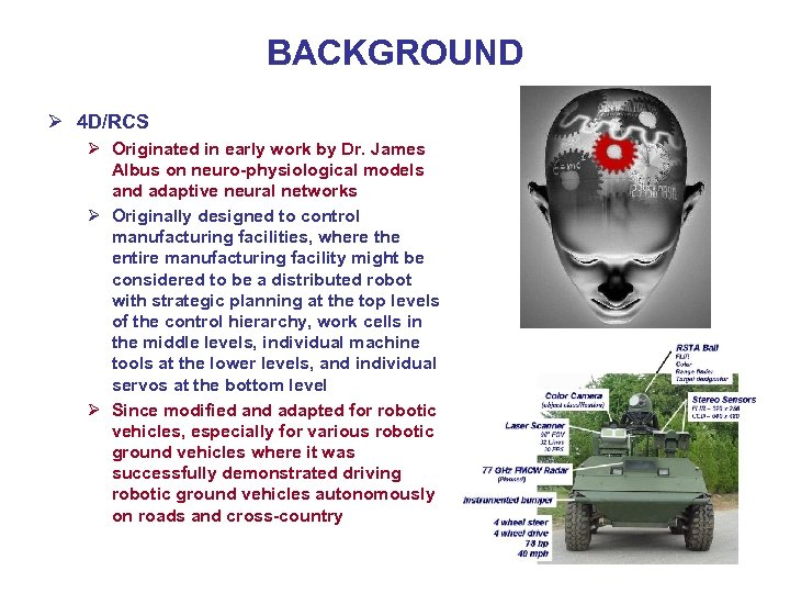 BACKGROUND Ø 4 D/RCS Ø Originated in early work by Dr. James Albus on