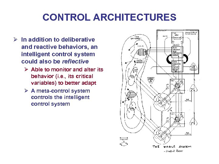 CONTROL ARCHITECTURES Ø In addition to deliberative and reactive behaviors, an intelligent control system