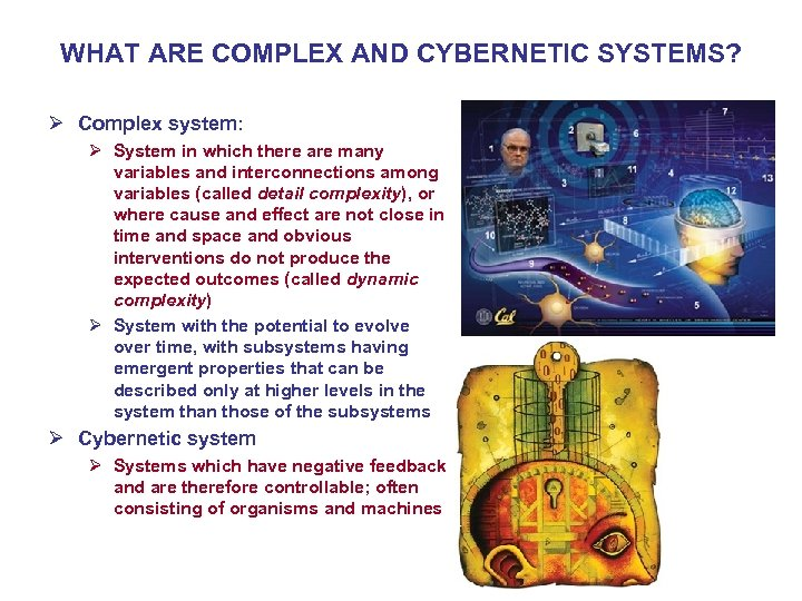 WHAT ARE COMPLEX AND CYBERNETIC SYSTEMS? Ø Complex system: Ø System in which there