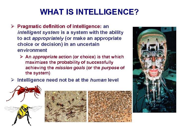 WHAT IS INTELLIGENCE? Ø Pragmatic definition of intelligence: an intelligent system is a system