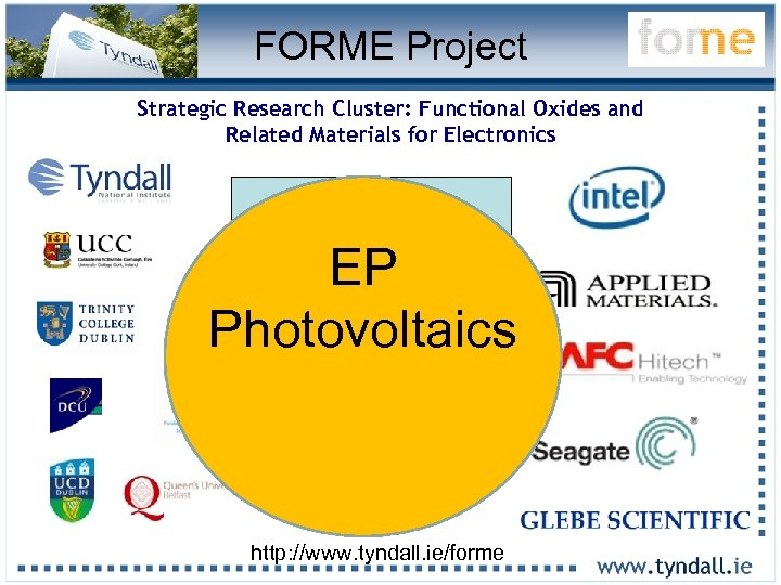 FORME Project Strategic Research Cluster: Functional Oxides and Related Materials for Electronics 16 Lead