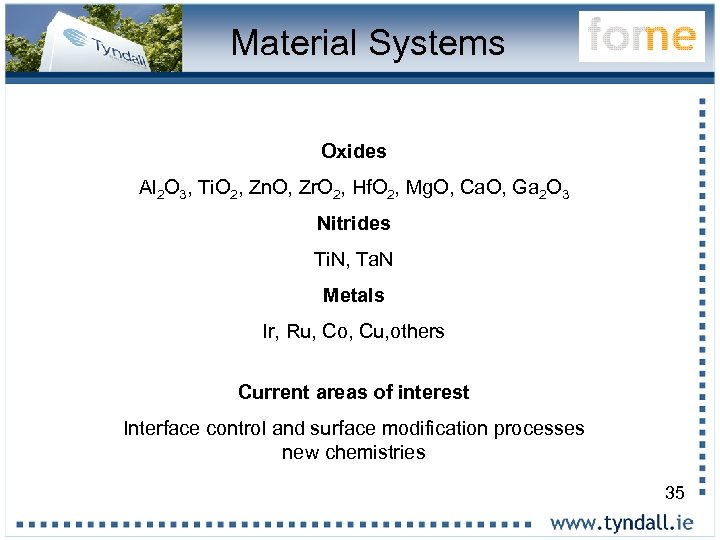 Material Systems Oxides Al 2 O 3, Ti. O 2, Zn. O, Zr. O