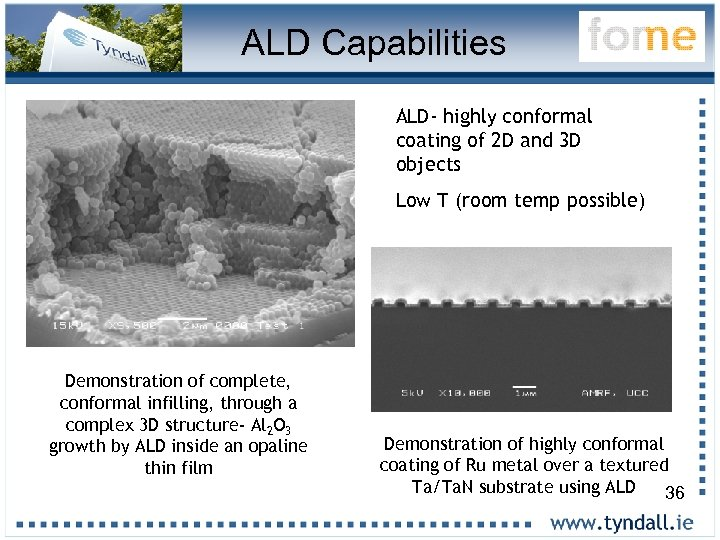 ALD Capabilities ALD- highly conformal coating of 2 D and 3 D objects Low