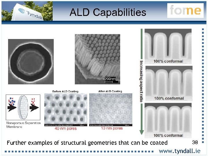ALD Capabilities Further examples of structural geometries that can be coated 38