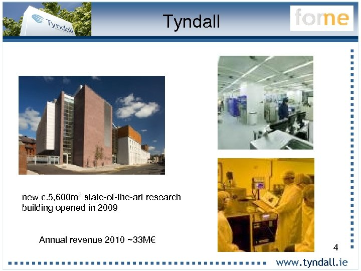 Tyndall new c. 5, 600 m 2 state-of-the-art research building opened in 2009 Annual