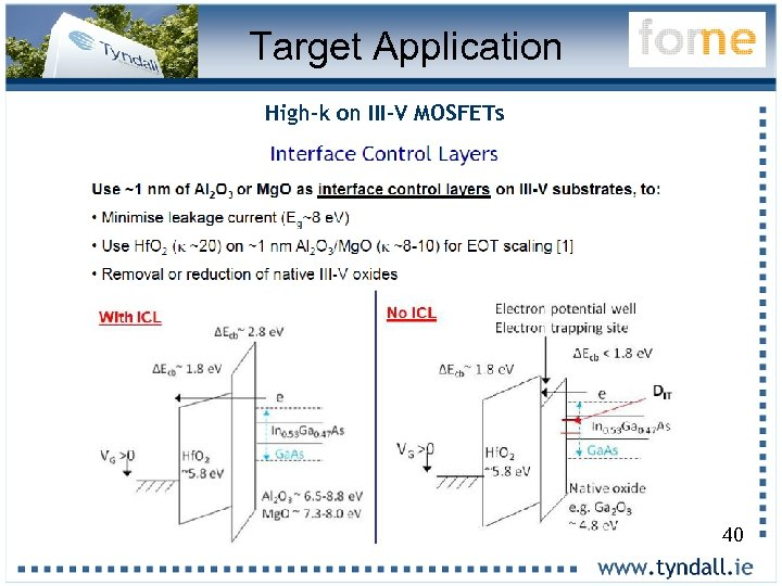 Target Application High-k on III-V MOSFETs 40