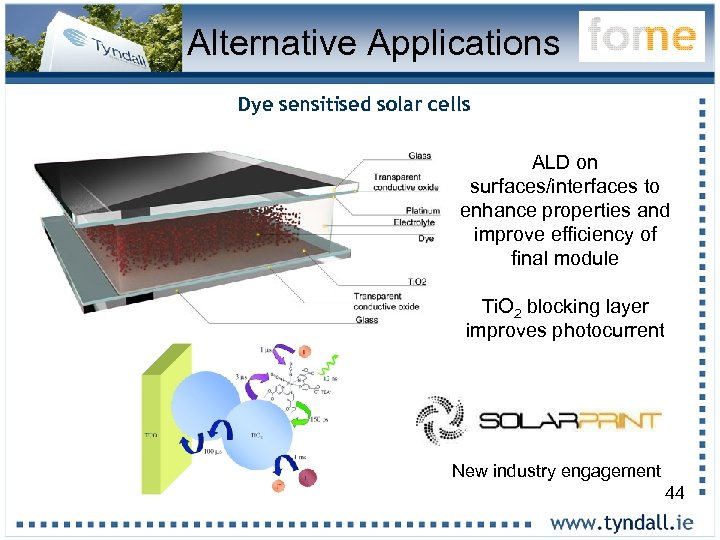 Alternative Applications Dye sensitised solar cells ALD on surfaces/interfaces to enhance properties and improve