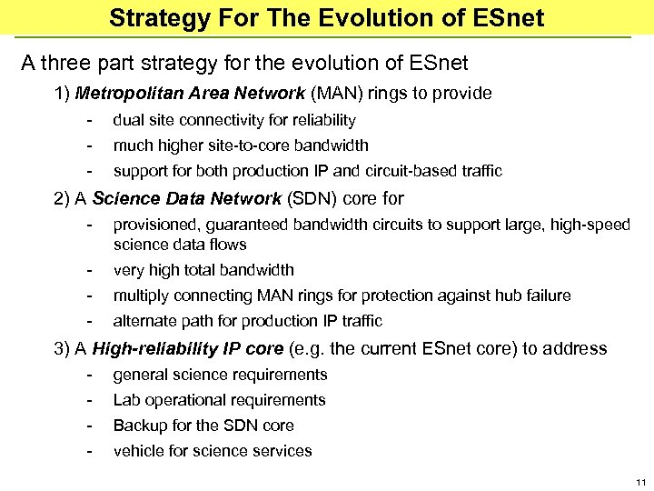 Strategy For The Evolution of ESnet A three part strategy for the evolution of