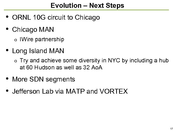 Evolution – Next Steps • • ORNL 10 G circuit to Chicago MAN o