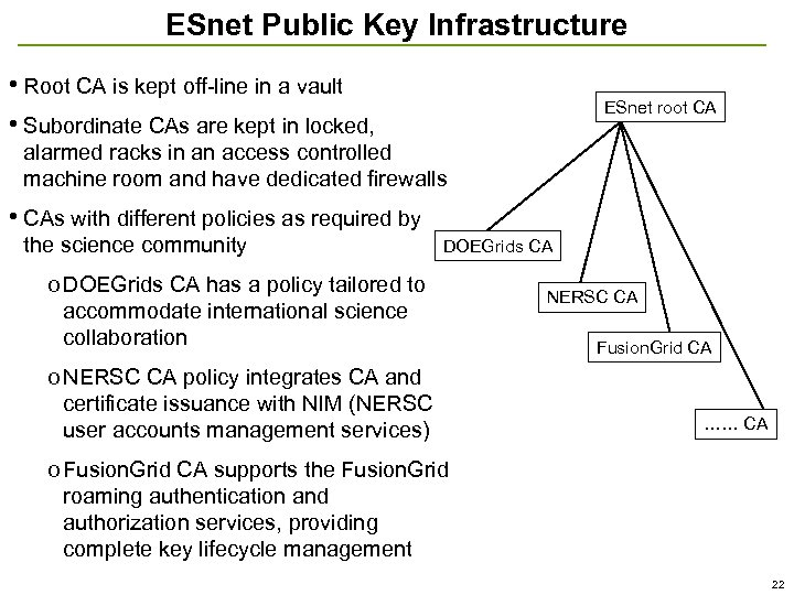 ESnet Public Key Infrastructure • Root CA is kept off-line in a vault •