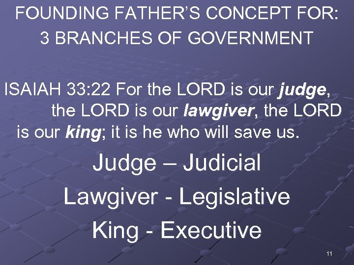 FOUNDING FATHER'S CONCEPT FOR: 3 BRANCHES OF GOVERNMENT ISAIAH 33: 22 For the LORD