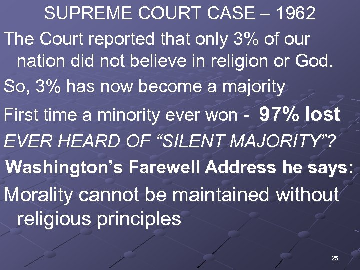 SUPREME COURT CASE – 1962 The Court reported that only 3% of our nation