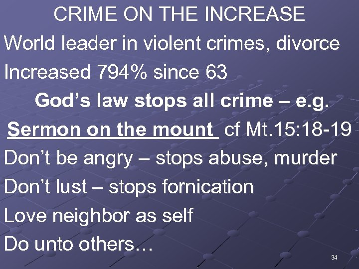 CRIME ON THE INCREASE World leader in violent crimes, divorce Increased 794% since 63