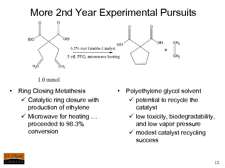 More 2 nd Year Experimental Pursuits • Ring Closing Metathesis ü Catalytic ring closure