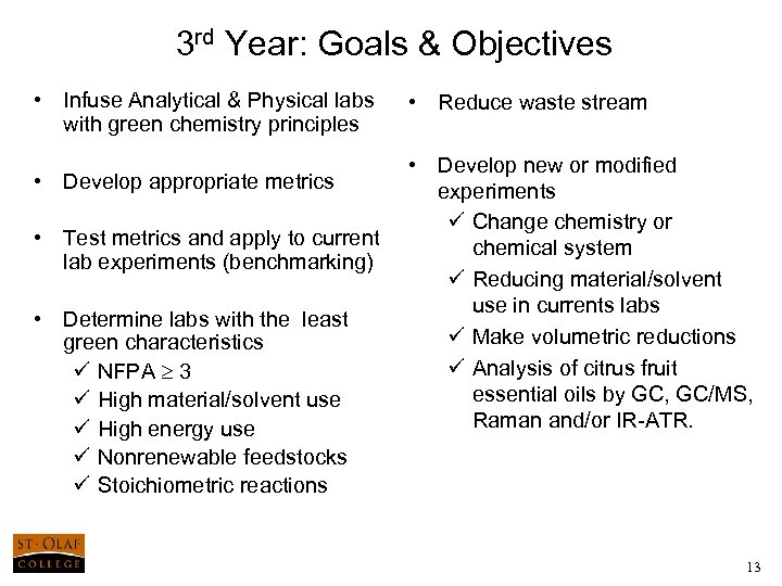 3 rd Year: Goals & Objectives • Infuse Analytical & Physical labs with green