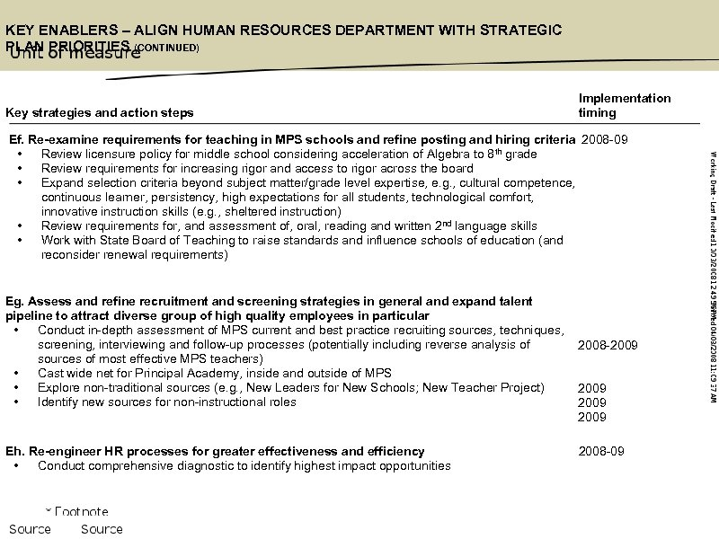 KEY ENABLERS – ALIGN HUMAN RESOURCES DEPARTMENT WITH STRATEGIC PLAN PRIORITIES (CONTINUED) Key strategies