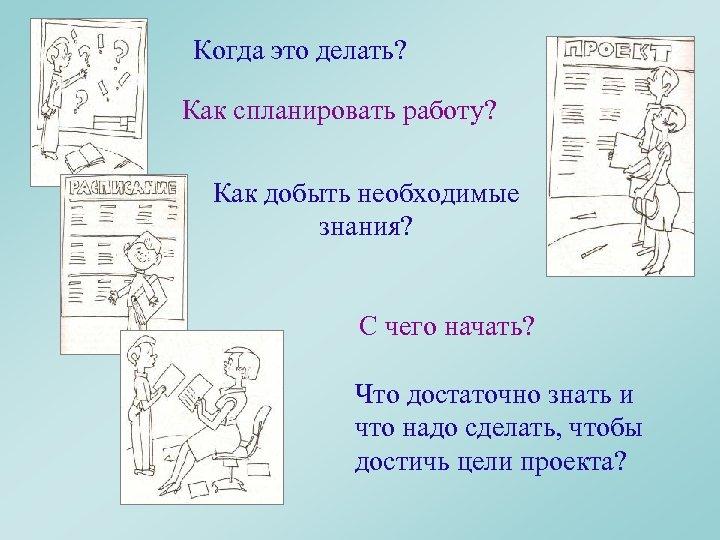 Когда это делать? Как спланировать работу? Как добыть необходимые знания? С чего начать? Что