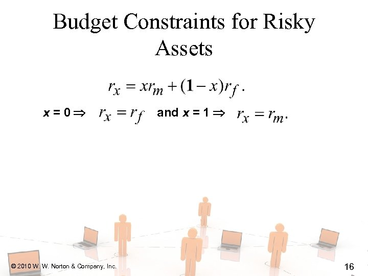 Budget Constraints for Risky Assets x=0 © 2010 W. W. Norton & Company, Inc.