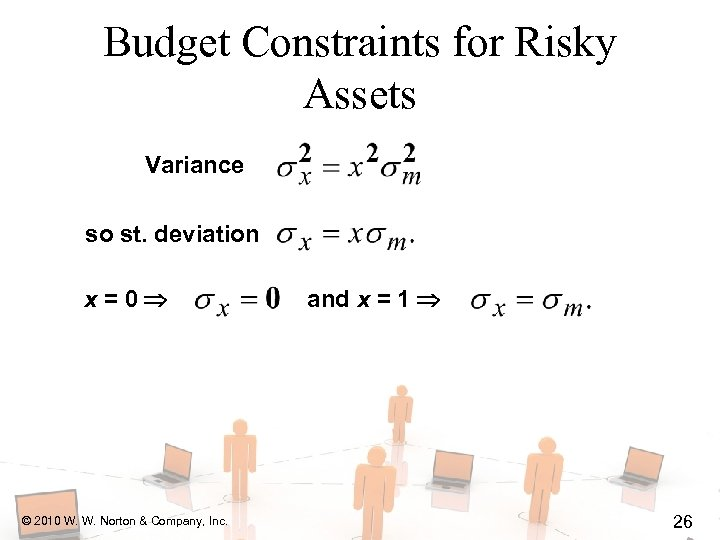 Budget Constraints for Risky Assets Variance so st. deviation x=0 © 2010 W. W.