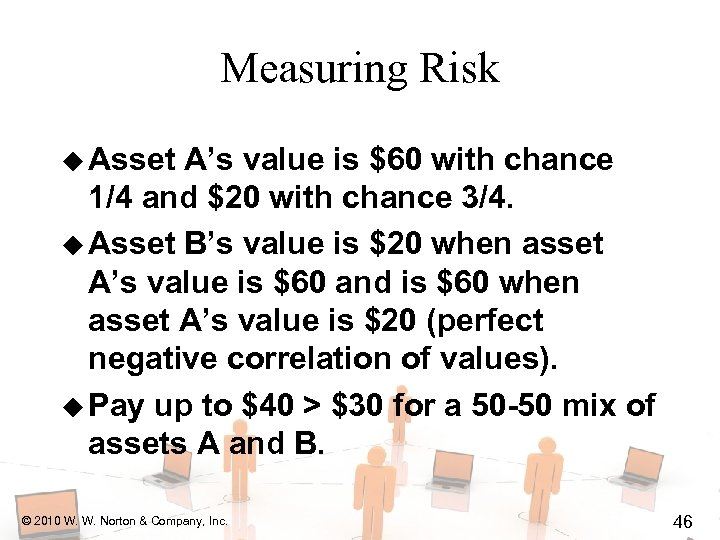 Measuring Risk u Asset A's value is $60 with chance 1/4 and $20 with