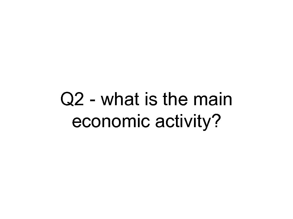 Q 2 - what is the main economic activity?